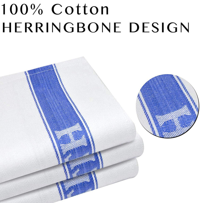 Professional Grade Commercial Herringbone Glass Towels 50x75cm - Towelogy