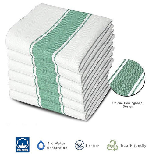 Professional Commercial Herringbone Green Chef Towels 75x50cm - Towelogy