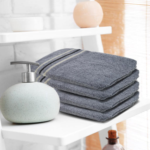 Luxury 100% Organic Egyptian Cotton Face Washcloths Grey Towels 12 Pack (30x30cm) - Towelogy
