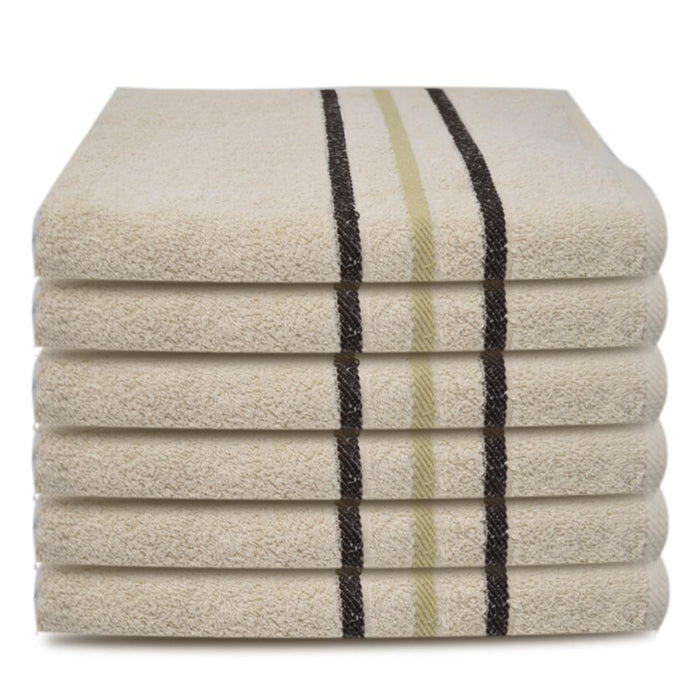 Luxury 100% Organic Egyptian Cotton Face Washcloths Mocha Towels 12 Pack (30x30cm) - Towelogy