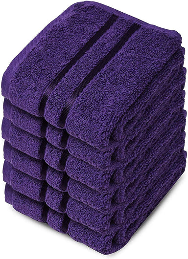 Reusable Face Cloths Egyptian Cotton Purple Washcloths Hypoallergenic - Towelogy