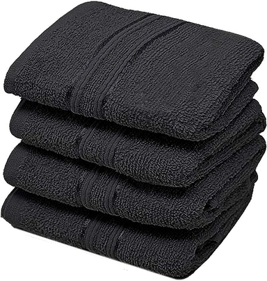 Reusable Face Cloths Egyptian Cotton Washcloths Hypoallergenic Black - Towelogy