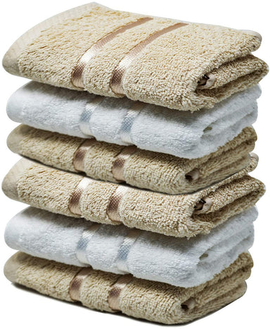 Reusable Face Cloths Egyptian Cotton White Coffee Washcloths Gentle - Towelogy