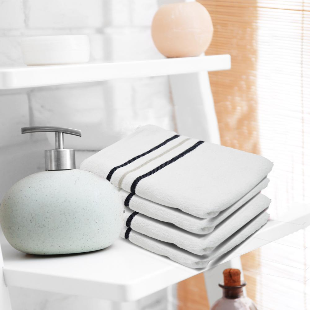 Luxury 100% Organic Egyptian Cotton Face Washcloths White Towels 12 Pack (30x30cm) - Towelogy