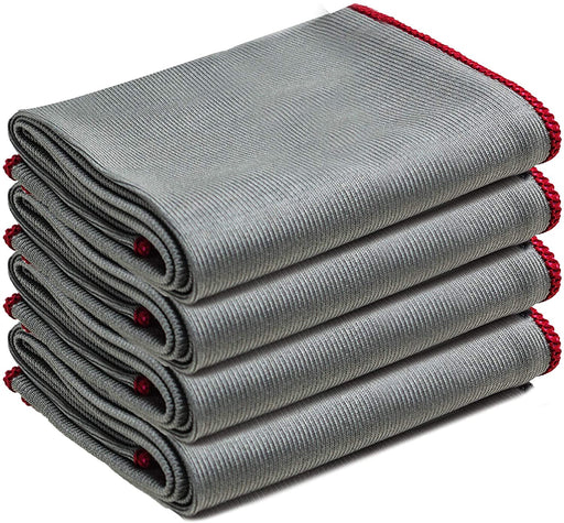 Large Microfibre Glass Cleaning Cloth Lint Streak Free Towels Grey White - Towelogy