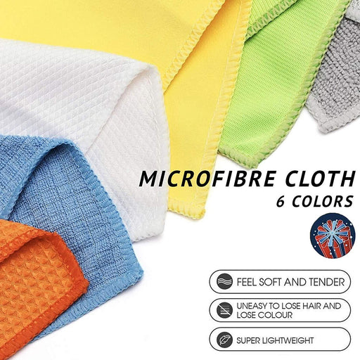 Multi Purpose Microfibre Cloths 12 Pack Lint Free Assorted 30x30cm - Towelogy