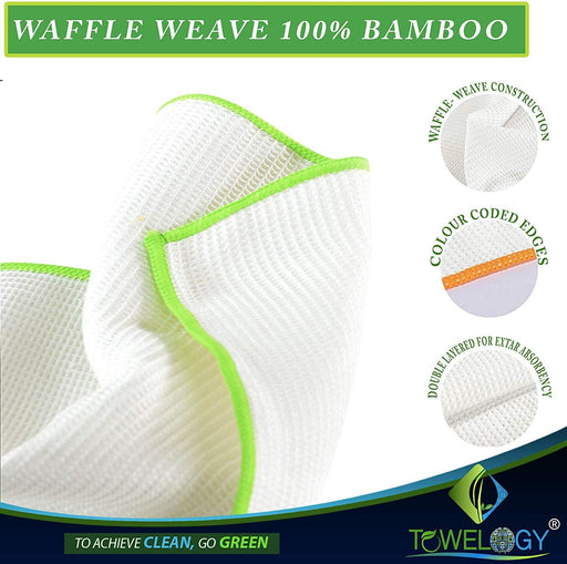 100% Organic Bamboo Dish Cloths Waffle Dish Cleaning Eco Cloths - Towelogy
