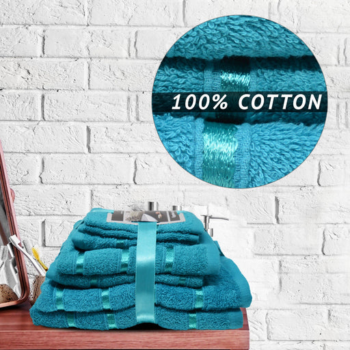 500GSM 8 Piece Luxury 100% Egyptian Cotton Bath Bale Towels Set Ultra Absorbent Teal - Towelogy