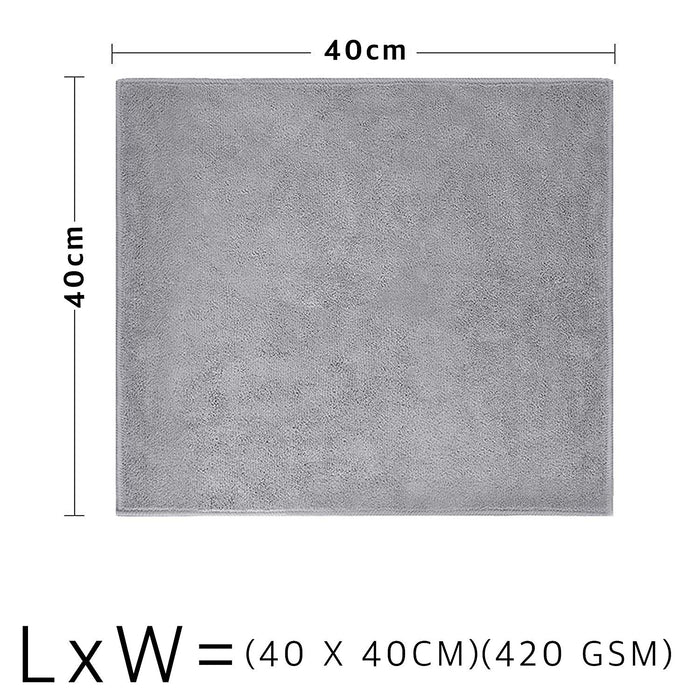 Microfibre Grey Cleaning Cloths 420GSM Plush Dual Sided Polishing Cloth - Towelogy