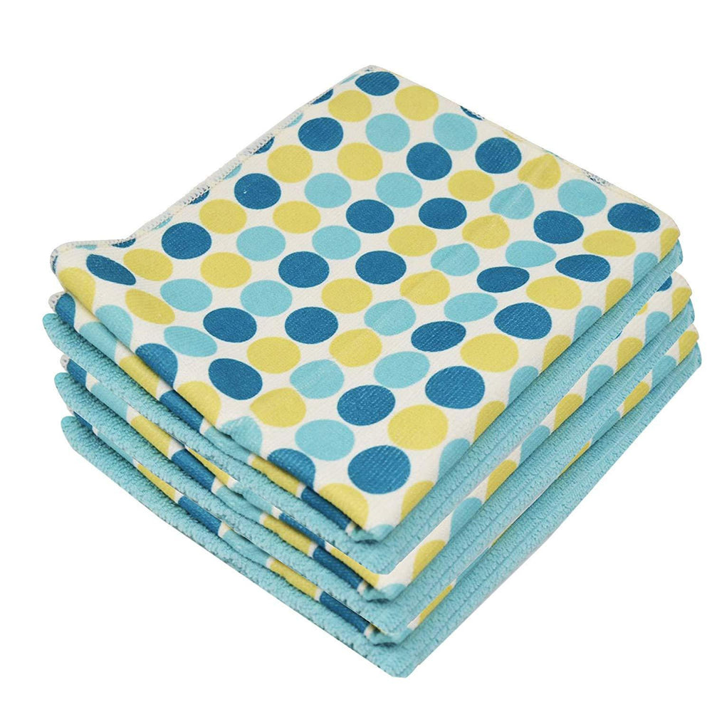 Microfibre Patterned Polka Dot Print Aqua Kitchen Tea Towels 40x47cm - Towelogy