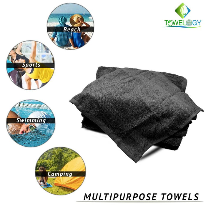 Luxury Soft 10 Piece Towel Bale Sets Egyptian Cotton Pot Black Bath Set - Towelogy