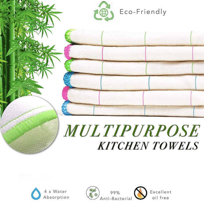 360GSM Natural Plant Fibre Super Absorbent Dish Cloths Assorted 30x30cm - Towelogy