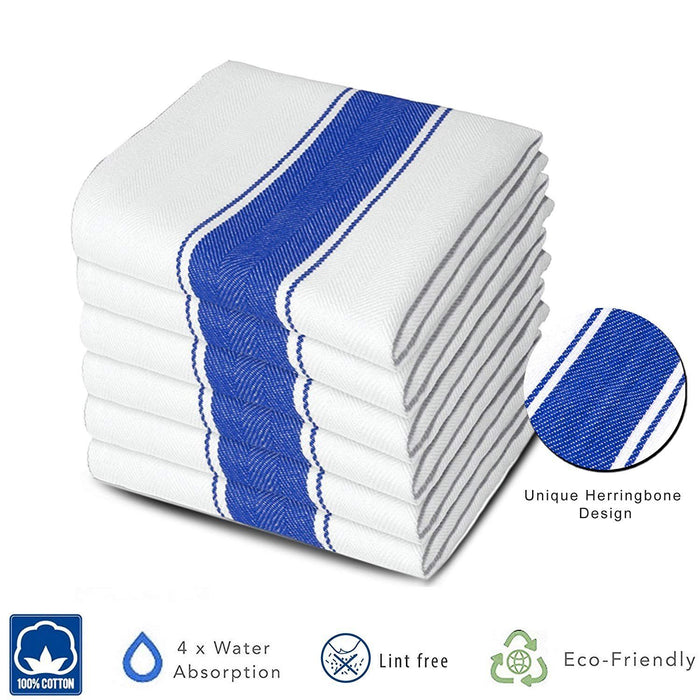 Professional Grade Commercial Herringbone Blue Chef Towels 75x50cm - Towelogy