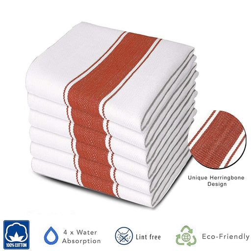 Professional Grade Commercial Herringbone Red Chef Towels 75x50cm - Towelogy
