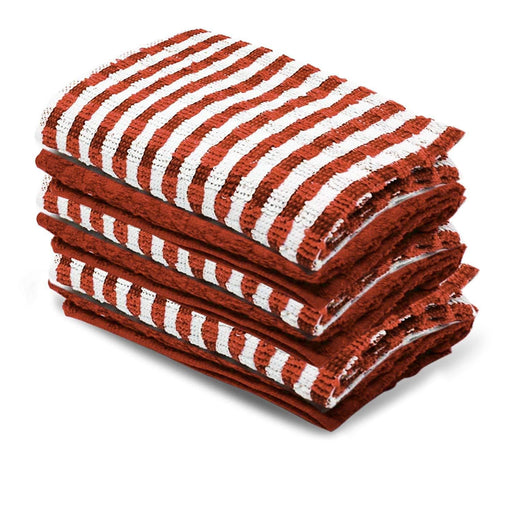 100% Cotton Terry Tea Towels Drying Cloths Red Kitchen Towels 70x45cm - Towelogy