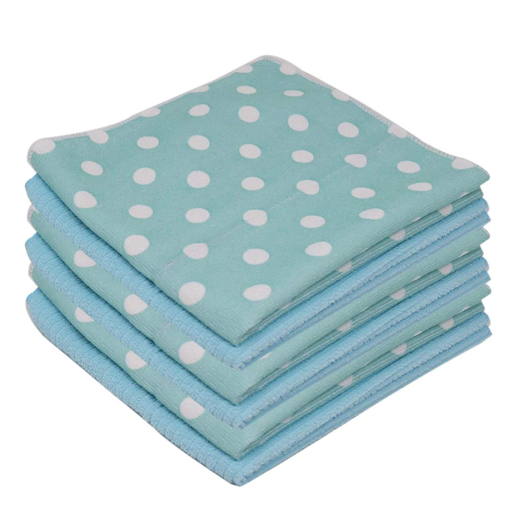 Microfibre Patterned Absorbent Printed Aqua Kitchen Tea Towels 40x47cm - Towelogy