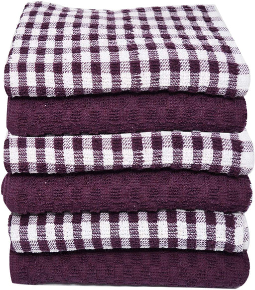 Purple and White Cotton Kitchen Tea Towels Lined and Checkered - Towelogy