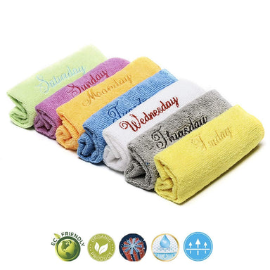 300GSM Microfibre Face Towels Washcloths Antibacterial Assorted Pack of 7 - Towelogy