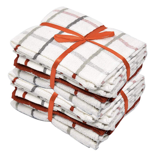 Red and White Kitchen Dusting Cloths Egyptian Cotton Checkered Style - Towelogy