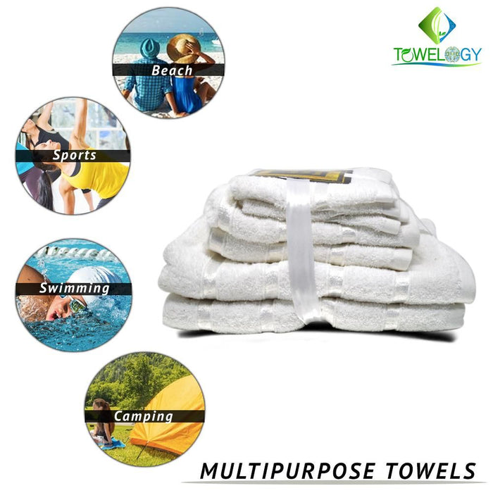 500GSM 8 Piece Luxury 100% Egyptian Cotton Bath Bale Set Towels Ultra Absorbent White - Towelogy