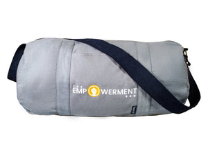 Gray duffel bag with inner blue lining