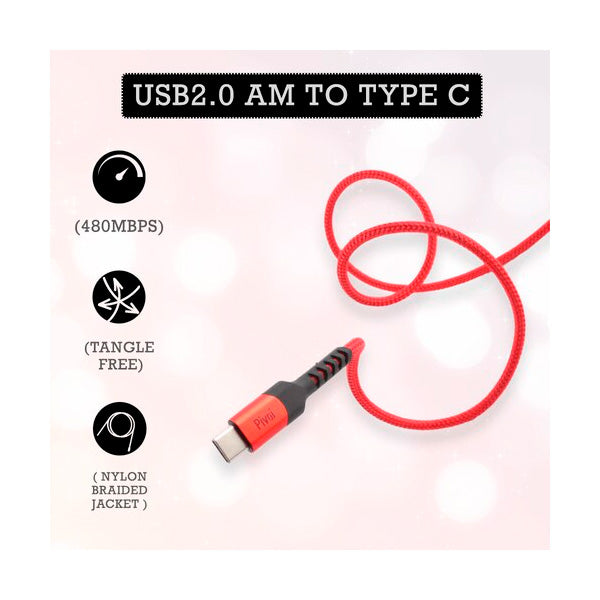 Pivoi USB 2.0 AM to Type-C Cable 2M 1 Pack
