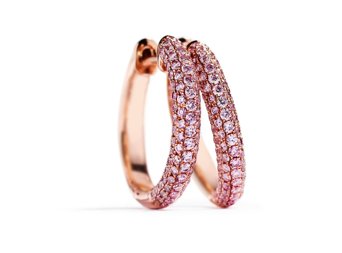 Diamant creoler med 0,70 ct. Argyle Pink brillanter