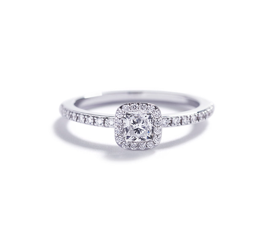 Rosetring med 0,31 ct. cushion-cut diamant
