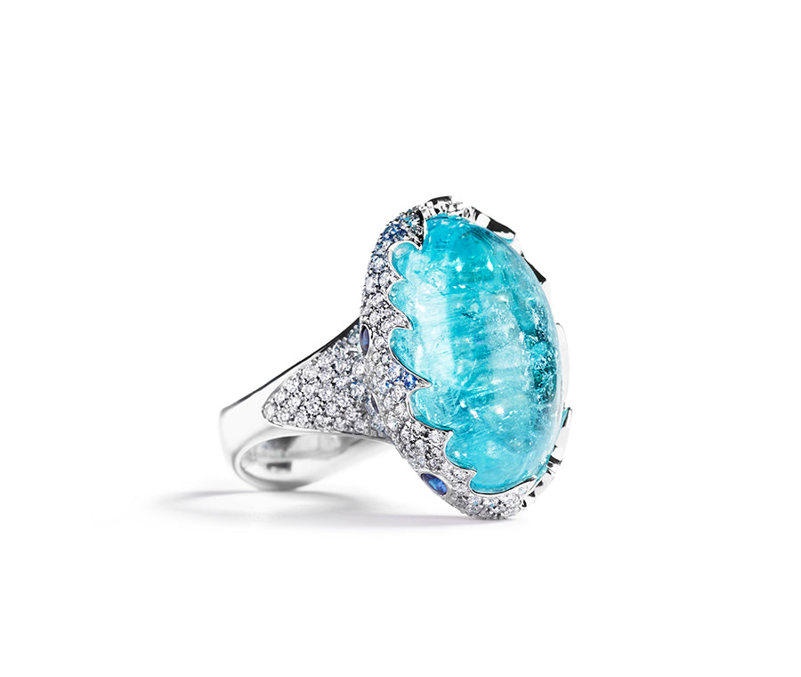 Ocean Blue ring med Paraiba turmalin og brillanter