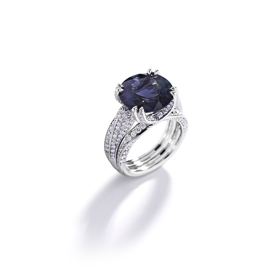 Diamantring med 9,63 ct. spinel