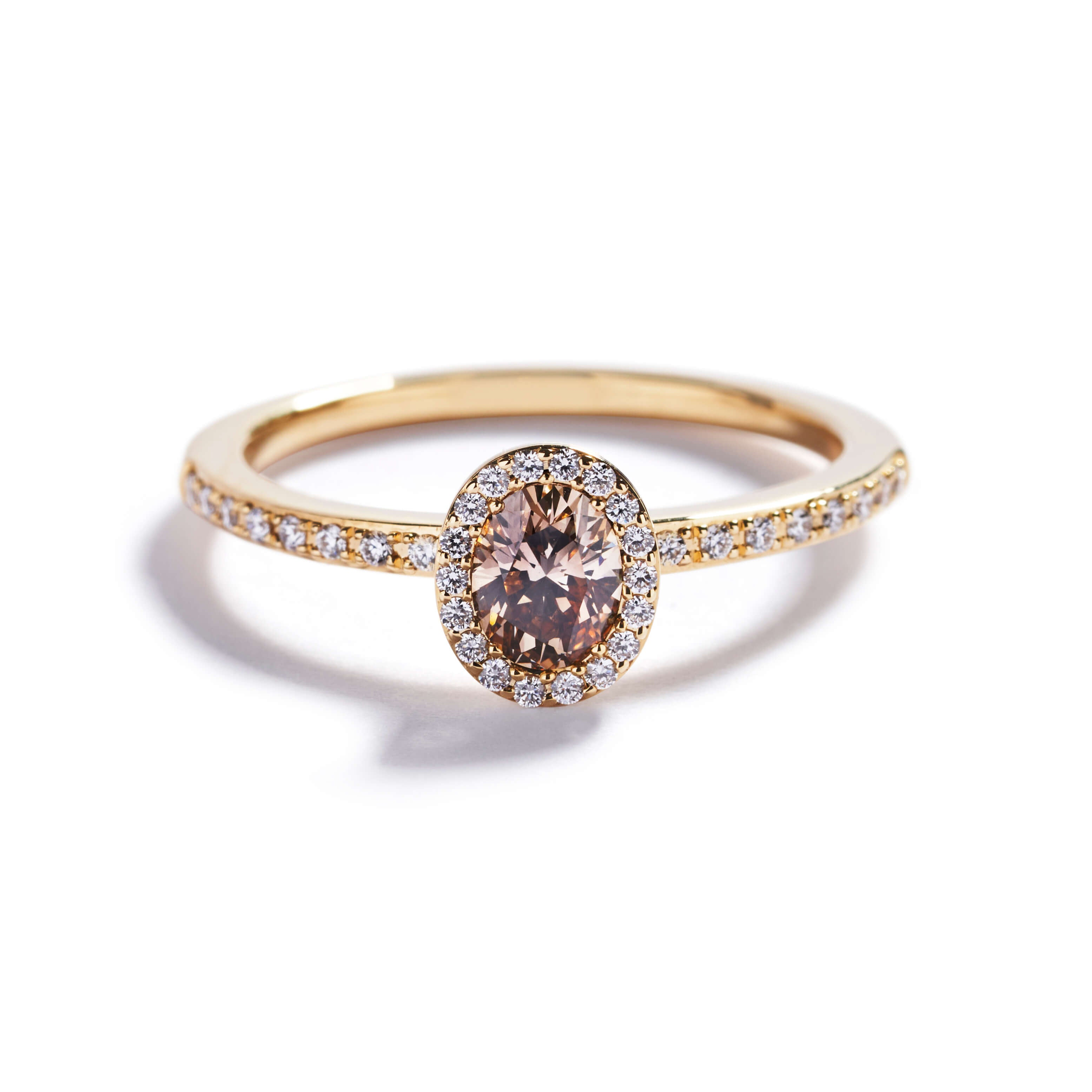 Rosetring med 0,38 ct. oval Argyle Champagne diamant