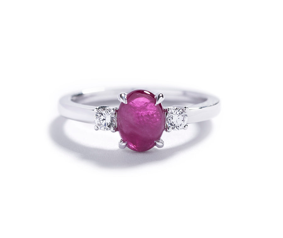3-stens rubin ring med 1,37 ct. Grønlandsk Rubin og diamanter
