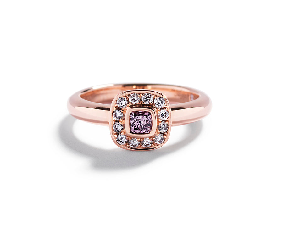 Rosetring med Argyle Pink 0,22 ct. cushion-cut diamant