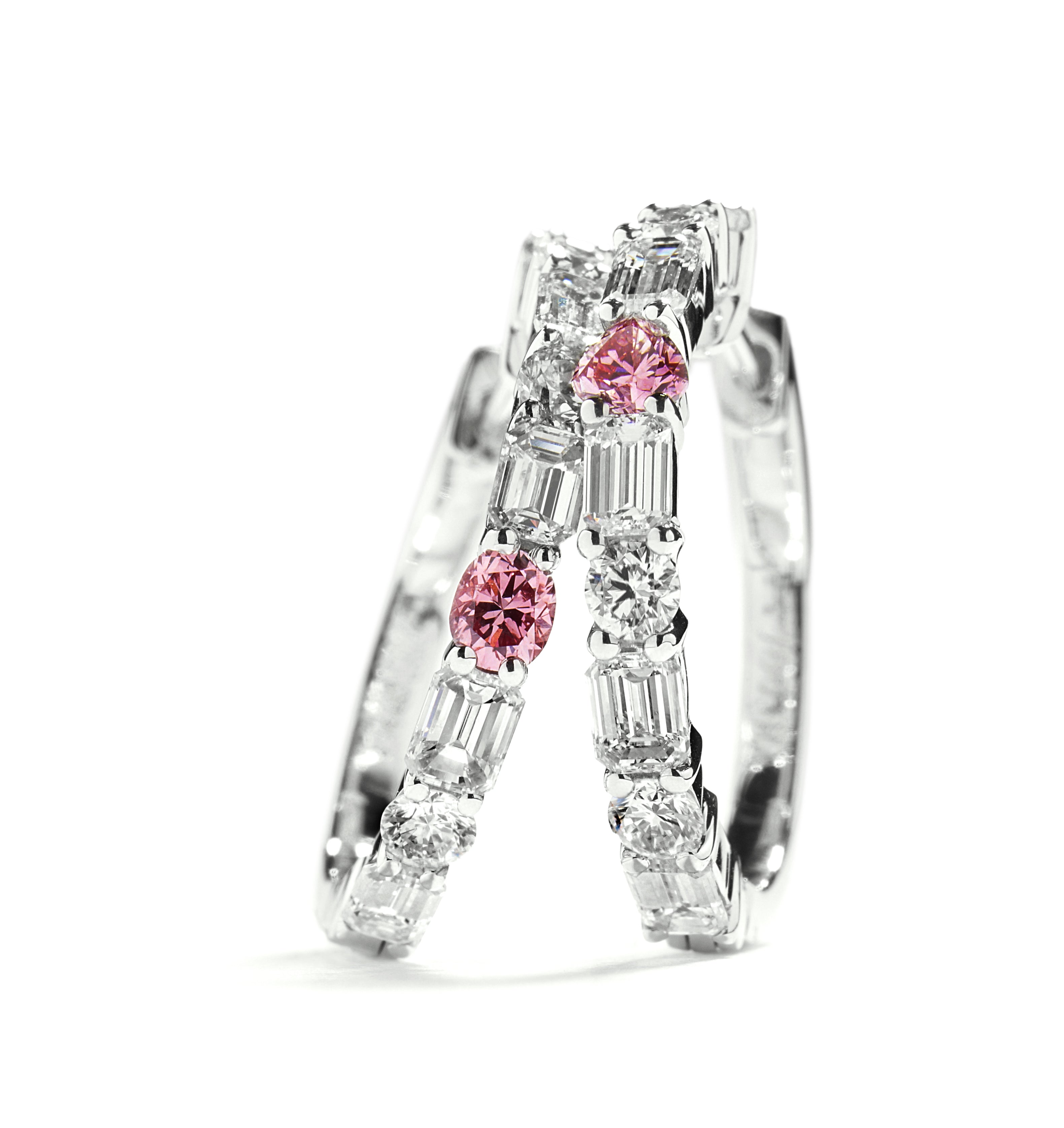 Diamant creoler med Argyle Pink diamanter