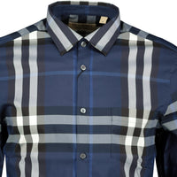 Burberry Check Stretch Cotton Shirt Blue - chancefashionco