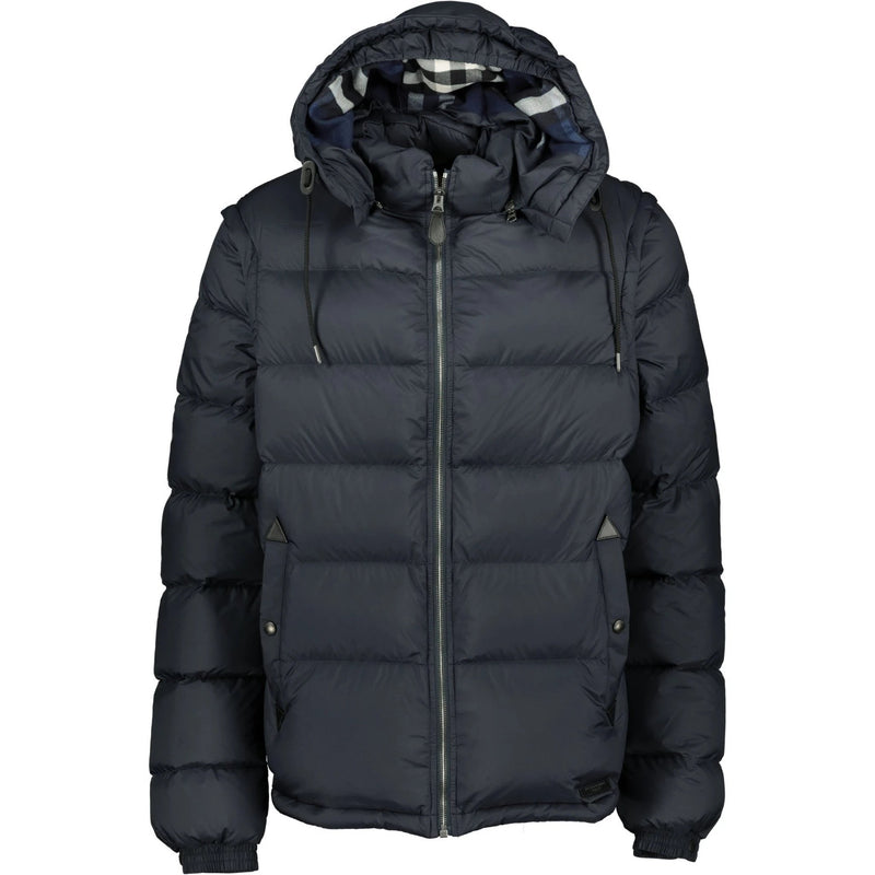 Burberry Detachable Sleeve Hooded Down Jacket Navy - chancefashionco
