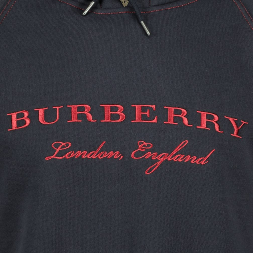 Burberry London England Embroidery Hooded Sweatshirt Navy - chancefashionco