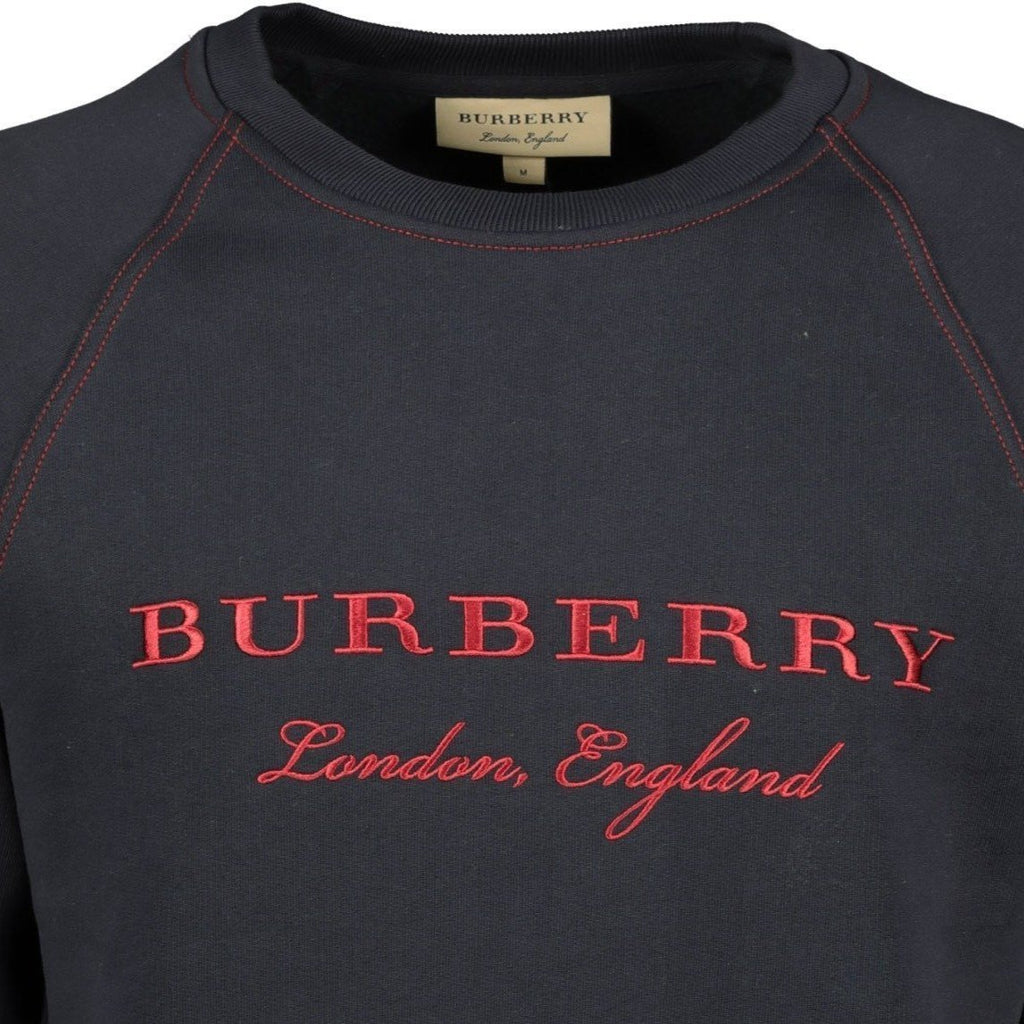 Burberry London England Embroidery Sweatshirt Navy - chancefashionco