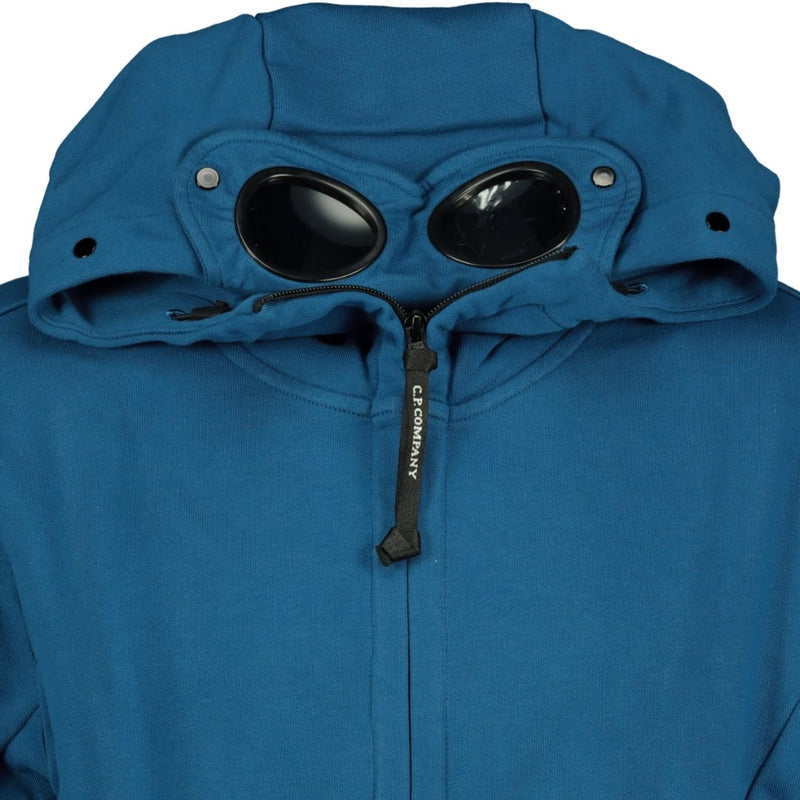 CP Company Goggle Hooded Zip Up Sweatshirt Blue - chancefashionco