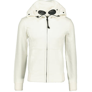 CP Company Goggle Hooded Zip Up Sweatshirt Cream - chancefashionco
