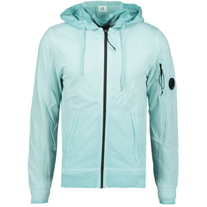 CP Company Re-Colour Arm Lens Zip-Up Hoodie Light Blue - chancefashionco