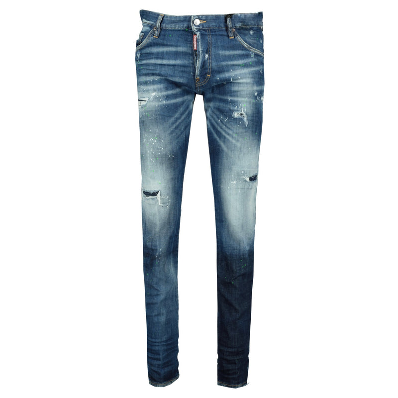 DSquared2 Cool Guy Green & White Paint Slim Fit Jeans - chancefashionco