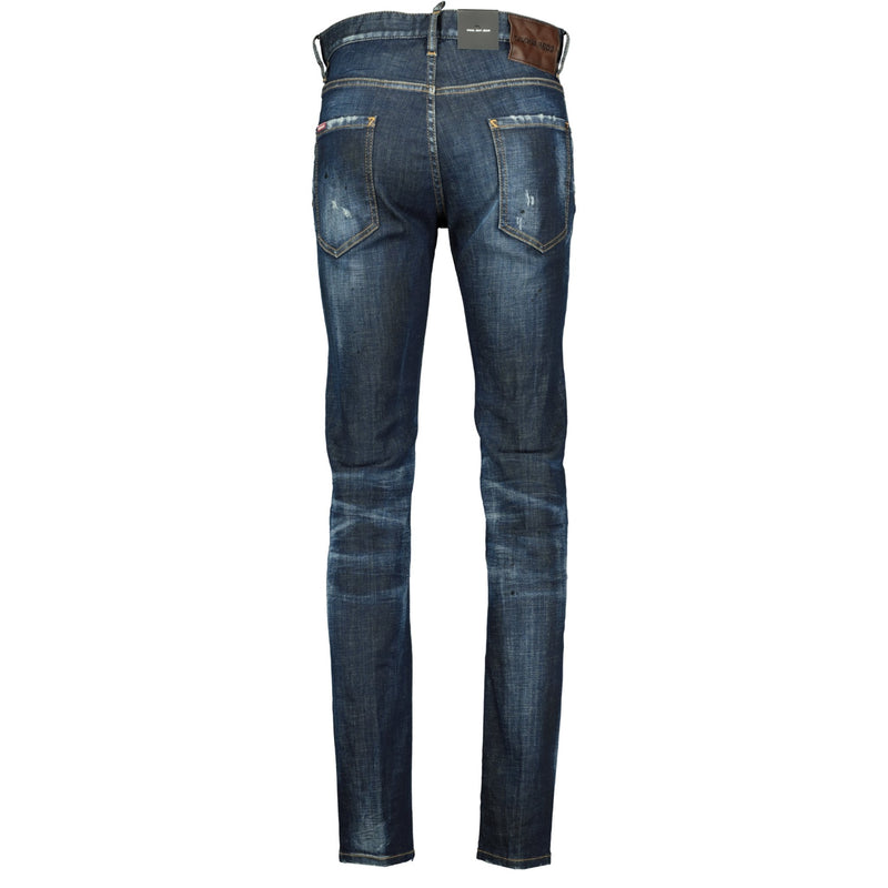 DSquared2 Cool Guy Navy Tab Black Paint Slim Fit Jeans - chancefashionco