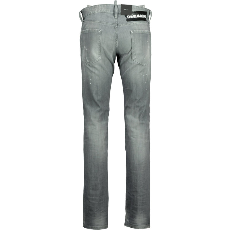 Dsquared2 Skinny Dan Grey Paint Splatter Jeans - chancefashionco