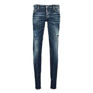 DSquared2 Slim Jeans Distressed Stitch Paint Splatter - chancefashionco