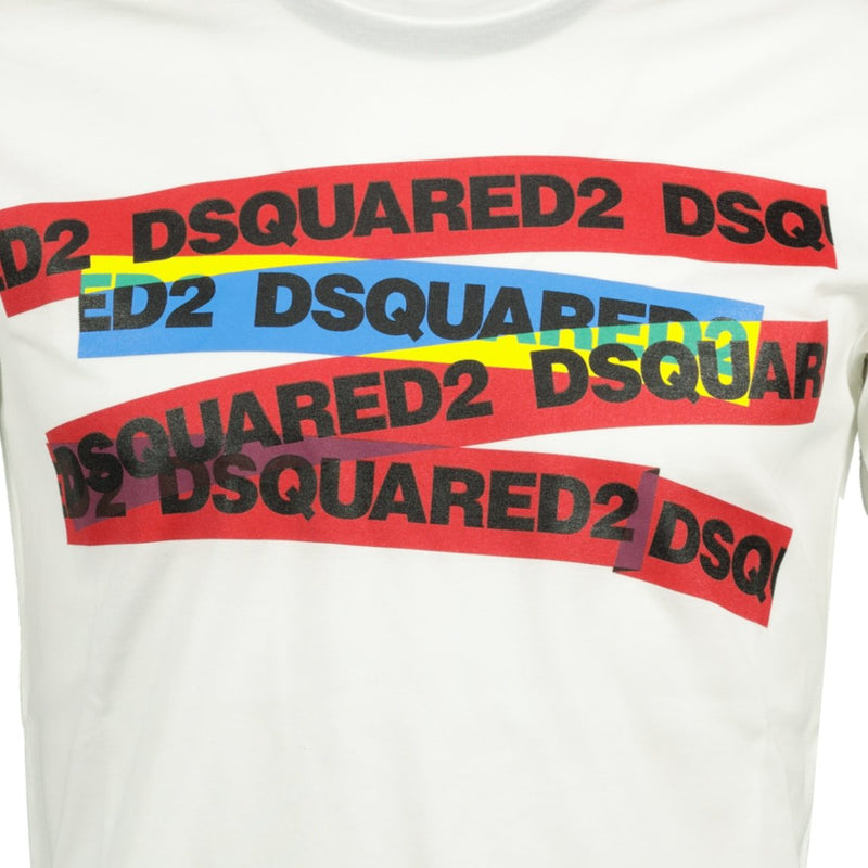 Dsquared2 Tape Logo T-Shirt White - chancefashionco