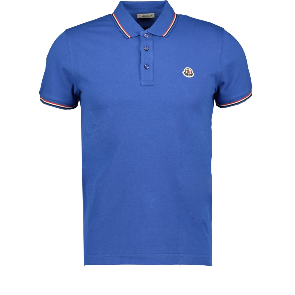 Moncler Stripe Cotton Polo Blue - chancefashionco