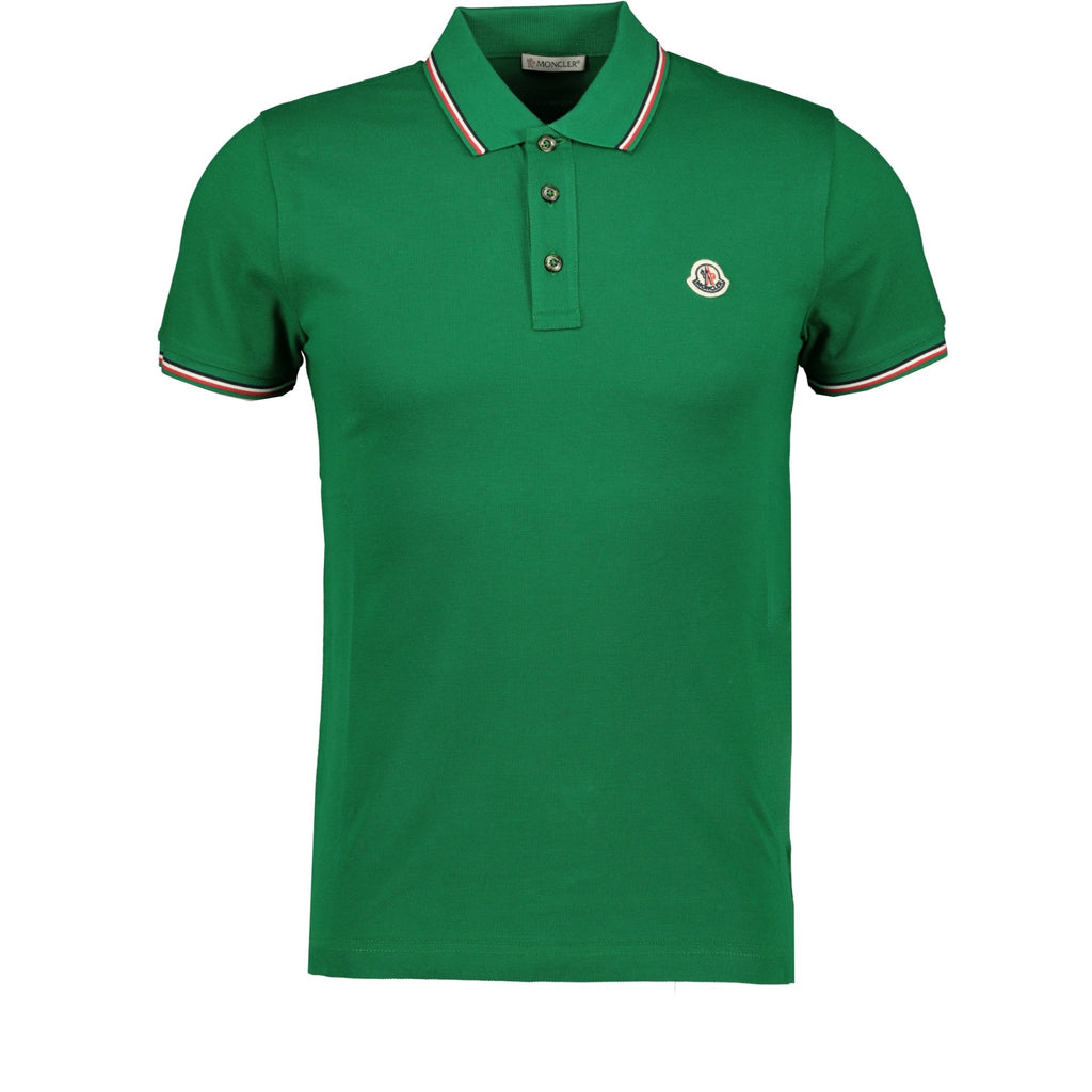 Moncler Stripe Cotton Polo Green - chancefashionco