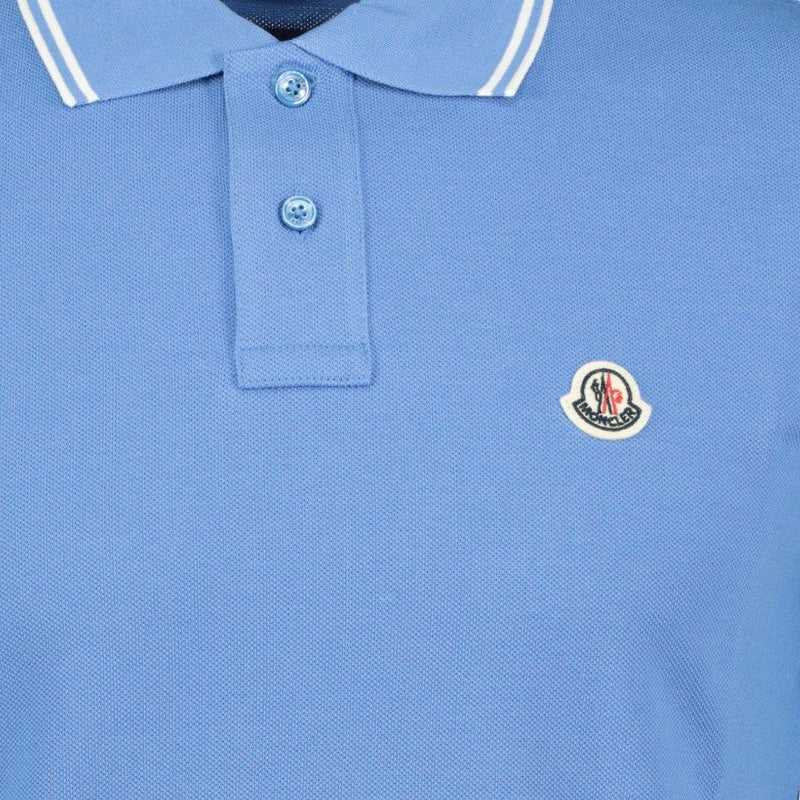 Moncler Twin Tip Cotton Polo Blue - chancefashionco