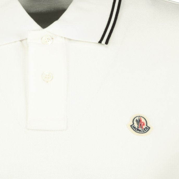 Moncler Twin Tip Cotton Polo Cream - chancefashionco